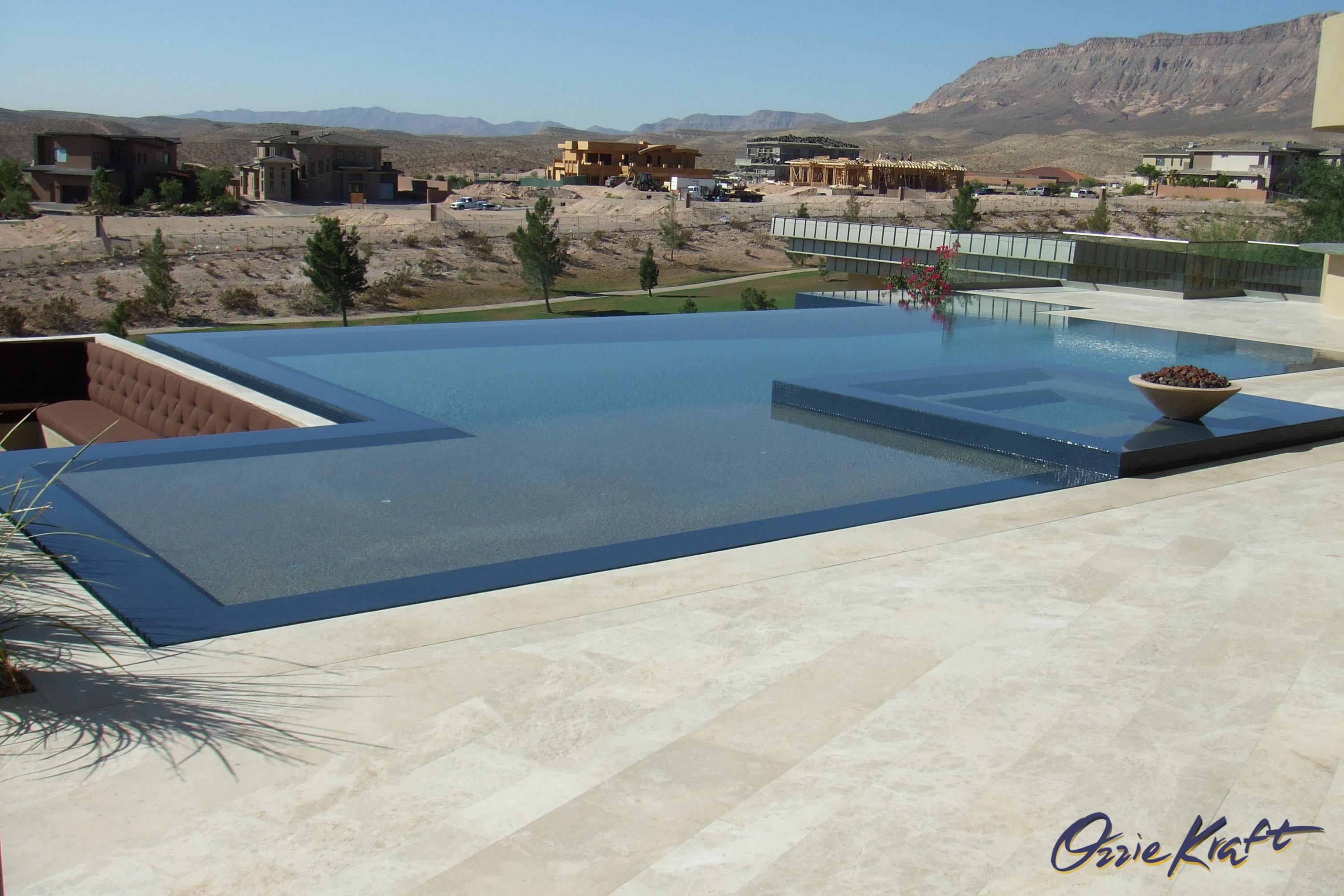 Super no edge infinity swimming pool view • Ozzie Kraft Pools SQ28